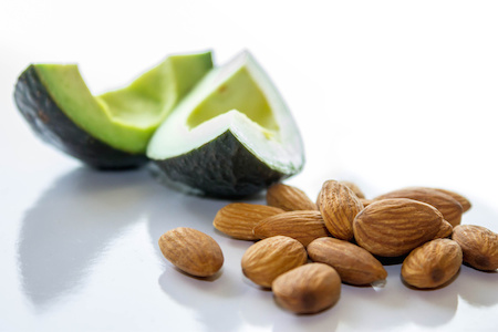 Almonds and avocado slices